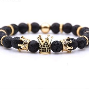 Black&Gold Crown Beads Bracelets For Women